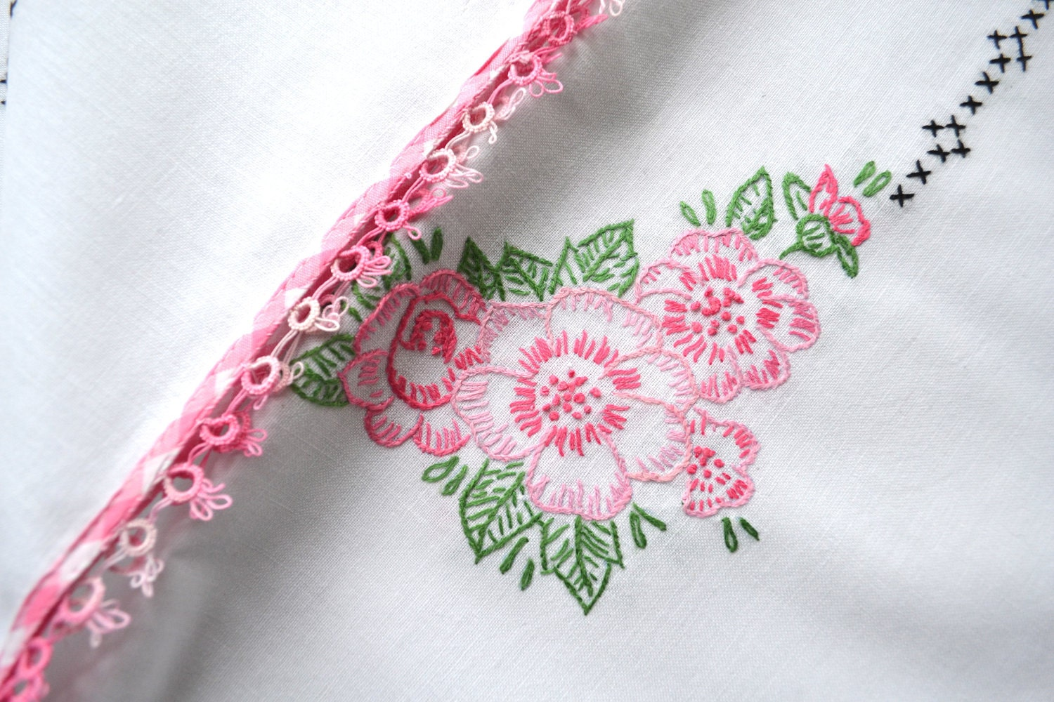Vintage Embroidered Tablecloth Antique By Greysquirrelantiques