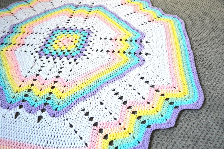 Crochet Rainbow Baby Blanket Pattern By Flavia : Rainbow Crochet Blanket Handmade Crochet Rug Pastel Colors