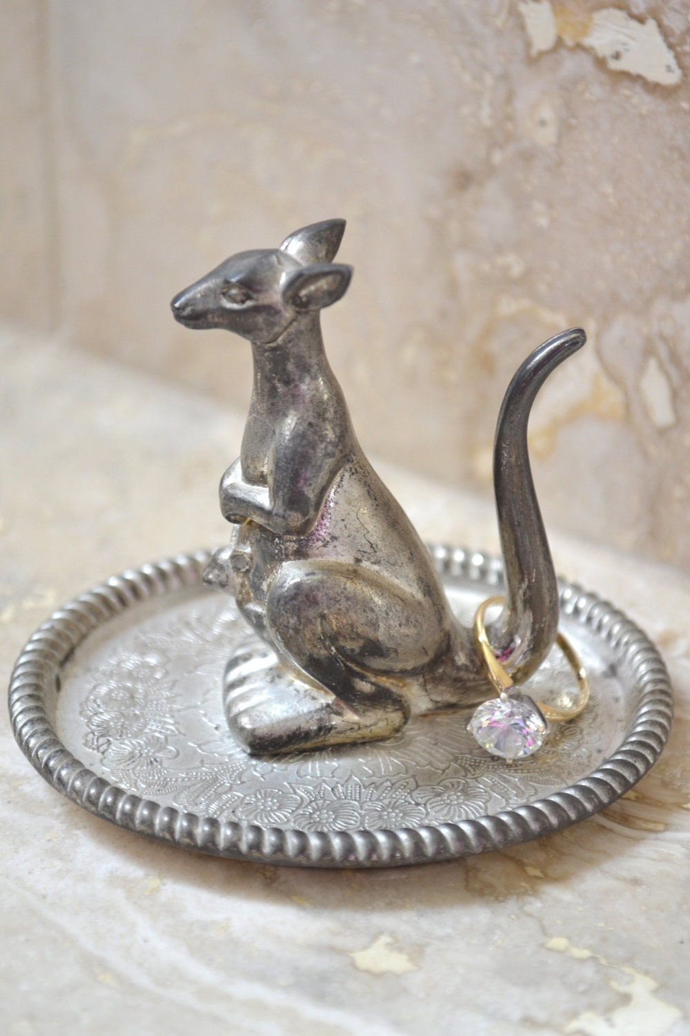 Silver Ring Holder Kangaroo Jewelry Stand Silver Plated