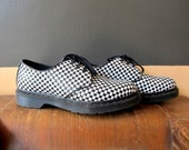 DOC Dr Martens Black White Checkered Mod Creepers Rockabilly Shoes 9