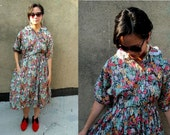 60's 70's Floral Butterfly Batwing Ruffled Grunge Summer Dress
