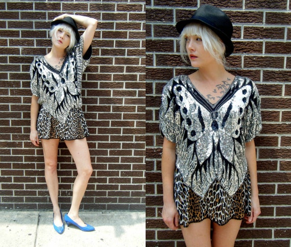 Vintage Silver Sequined BUTTERFLY Batwing Fancy Disco 70's Shirt