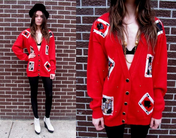 Red Casino Beaded Bedazzled Card Deck Oversized Cardigan Sweater