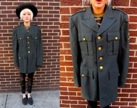 50's USA  Army Green Military Clover Patch Navy Trench Grunge Jacket