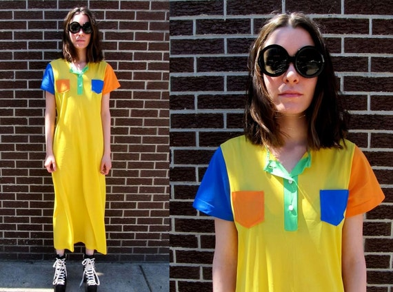 70's Yellow Primary Color Block Crayola Pocket See Through Mod Dress