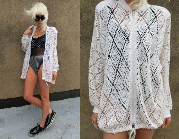 Crochet Deadstock Mesh See Through White Beach Cover Up Jacket