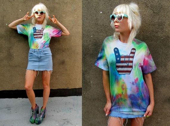 American Flag Metal Tie Dye Hippie DIY Punk Rock Patriotic Shirt