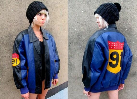 1991 Leather Star Studded Hip Hop Color Block Oversized Bomber Jacket