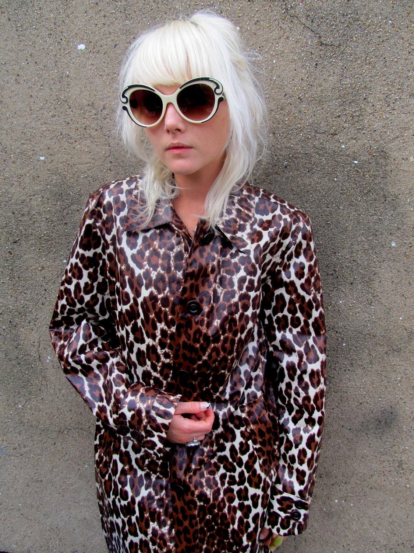 Leopard Print Plastic Vinyl Long Raincoat Windbreaker Jacket