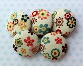 Spring Flowers Fabric Covered Buttons - Set of Five