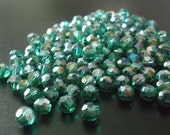 Teal 6mm faceted crystal AB beads, 150 beads