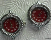 Watch faces silver 2 red face 1 inch round