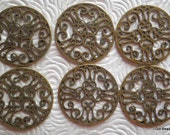 Steampunk filigree round 1 inch disc for embellishing antique brass 6 pieces