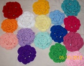 Summertime blooms - large 3 layer crocheted blooms - set of 3 - many colors to choose from