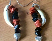 Fox tooth and gemstone earrings