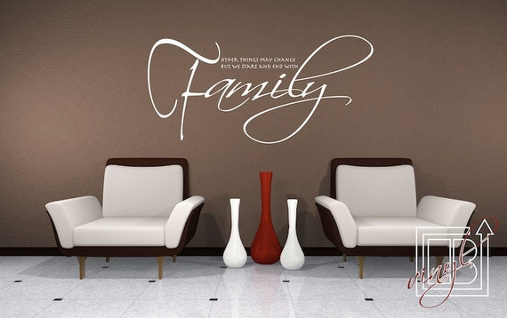 Wall Decal Quote Start and End With Family - Wall Sticker - Vinyl Decal