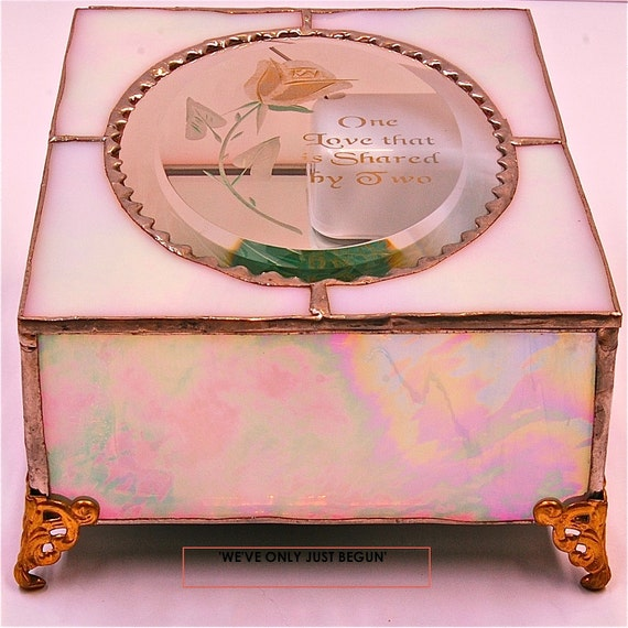 """Stained glass music box which plays """"""""We've Only Just Begun"""""""