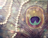 Peacock feather, pearls, 'Adorned', nature, fine art photography, wood, antique, vintage, gold,feathers, wall art