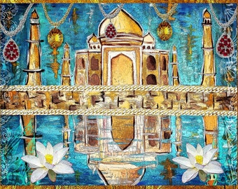 Jewel of India - Taj Mahal - Original Mixed Media Painting Print Modern Art Tara Richelle