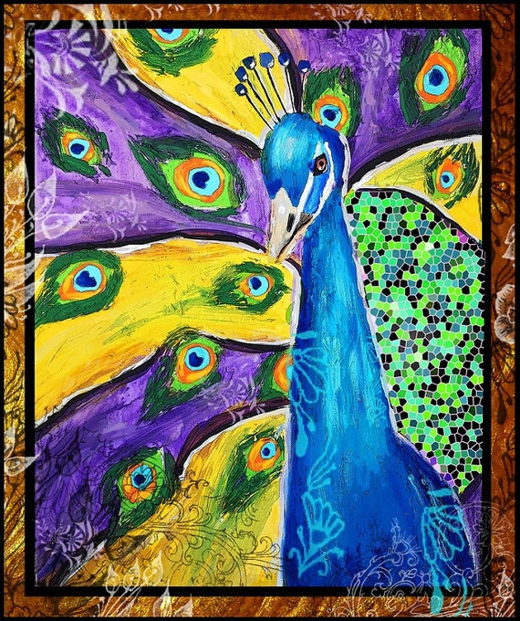 Peacock Modern Art Original Painting Print Blue Gold Feathers Tara Richelle