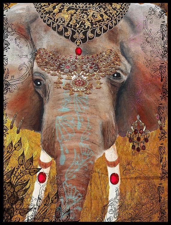 Indian Elephant of Jaipur, Gilded elephant, art, modern,india,henna,jewels,festivals,mixed media art,ganesha,ganesh, Tara Richelle