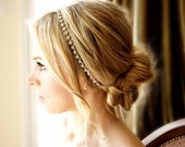 Crystal Silver or Gold Tone  Headband Ribbon Tie-on Bridal Special Occasion Hair Accessory Wedding Accessories