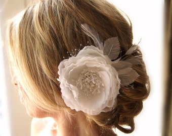 Bridal Flower Off White or Ivory Hair Clip French Netting Feathers Wedding Accessories
