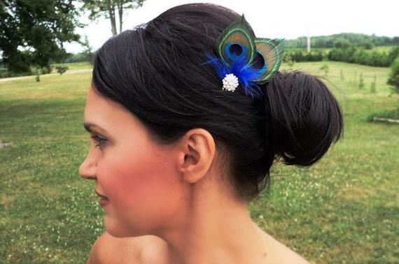 Peacock  Mini Comb  Wedding Accessories Swarovski Crystals Special Occasion Hair Accessory