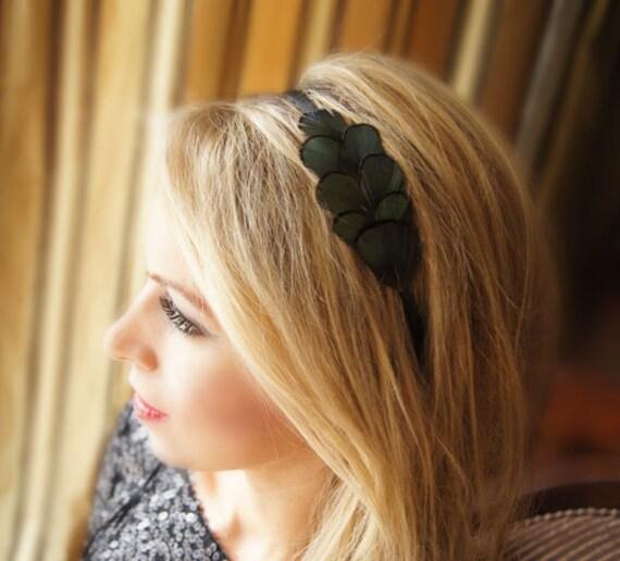 Feather Headband Emerald Green Lady Amherst Feather Headband Hair accessories