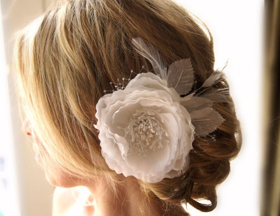 Bridal Ivory Flower Hair Accessories : Bridal flower off white or ivory hair clip french netting