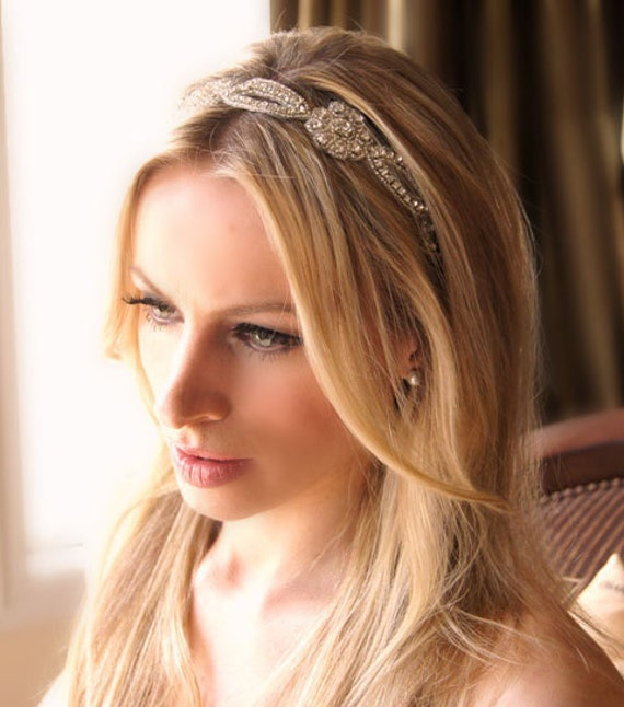 Crystal Flower Headband Ribbon Tie On Bridal Special Occasion Hair Accessory Wedding Accessories