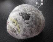 Vintage Beetle Image Nuno Felt Pebble pin cushion