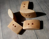 Set of 5 Rectangular Wooden Buttons, handmade, craft supply - knitting and sewing #135
