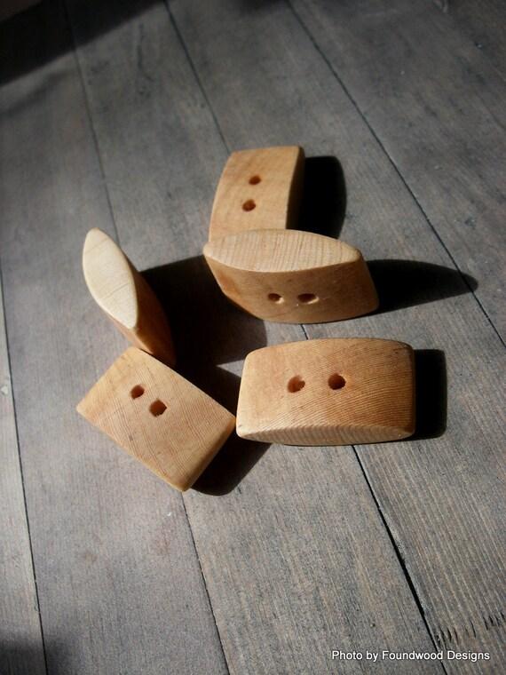 Set Of 5 Rectangular Wooden Buttons Handmade By Foundwooddesigns
