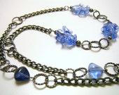 Gunmetal Blue Glass Chain Necklace