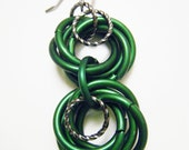 Kelly Green Chainmaille Double Chaos Dangle Earrings - fringeandflourish