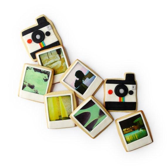polaroid camera and custom photo cookies gift (8 cookies)