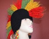 Rasta inspired mohawk hat.