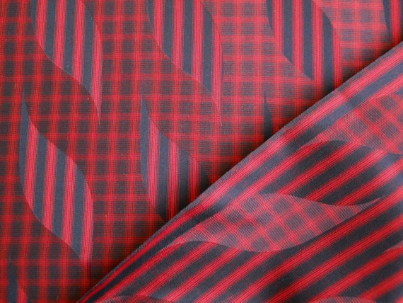 "Reserved listing for ""P""  ---- Vintage Japanese Kimono Silk Fabric - Very dark navy and red - optical leaves"