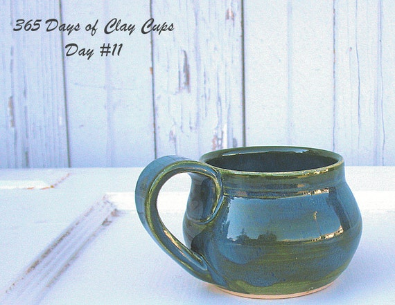 Blue Green Ocean Mug - Handmade on Day 11 of 365 Days of Clay Cups Project - Hobby Potter