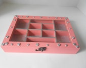 Melon pink and Silver glass top Jewelry Box silver roses