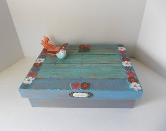 Whimsical Rustic Wooden Decorated Memory Box