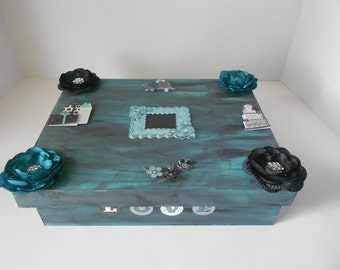 Emerald And Black Decoupage Memory Box Decorated Box