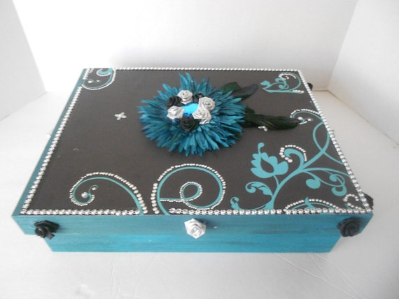 Teal and silver Memory Box Decoupaged Decorated Box