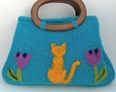 Boiled Wool Art Bag - Turquoise with Orange Cat - One of a Kind