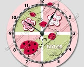 Wall clock LADY BUG custom personalized with your name Nursery art , Baby, Toddler, Girl, room decor 001