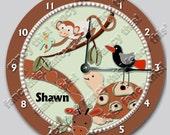 ZANZIBAR personalized Nursery wall art Clock includes giraffe, turtle, bird, monkey