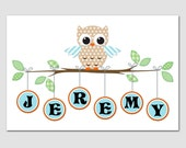 Nursery Art Owl Print BANGLES 12x18 Personalized with your name