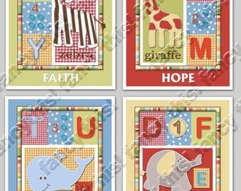 ALPHABET SOUP 8x10 Baby Nursery Art Prints, set of 4 includes an elephant, zebra, giraffe, tiger & whale