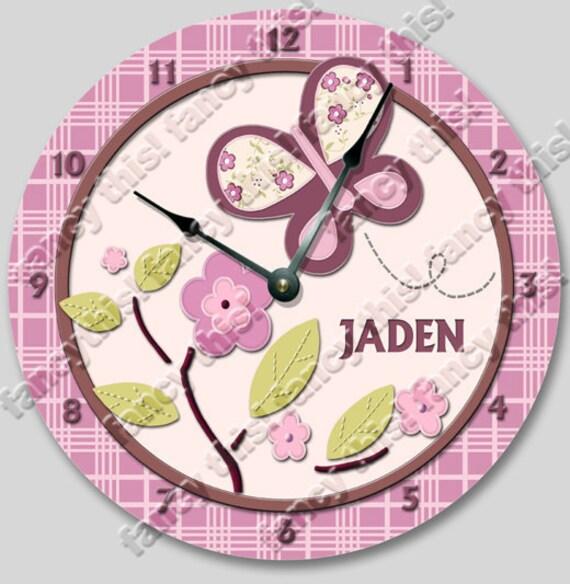 Wall clock SUGAR PLUM personalized Nursery art, Baby, Toddler, Girl, custom room decor